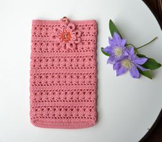 Crochet smartphone cover pattern, crochet case, phone accessories, cell case, pink wallet, textile purse, i phone cover,