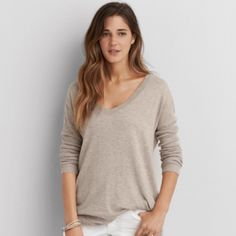 AE Soft Sweater Brand bew!  Super cozy and casual.  Pair with dark jeans and layer for the winter.  Pair with white jeans come spring!  Versatile! Color is oatmeal.  Offers welcome. American Eagle Outfitters Sweaters V-Necks