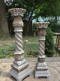 Annie Sloan Coco and dark wax painted floor standing candle sticks
