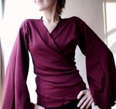 Organic cotton bamboo wrap top shirt - custom handmade by Econica/Etsy