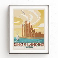 Kings landing travel poster. Game of Thrones illustration.