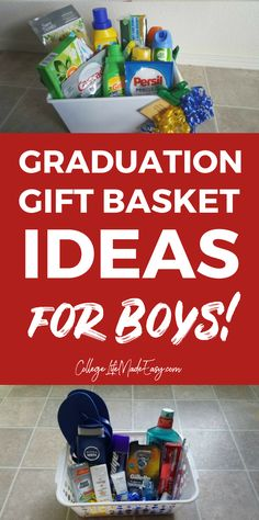 3 DIY Going Away to College Gift Baskets + Free Gift Tags Need a great gift idea for a boy who's going to college soon? These college gift baskets are perfect because they're useful, practical, and affordable. Graduation Gifts For Boys, High School Graduation Gifts, College Student Gifts, College Graduation Gifts, Graduation Ideas, College Students, Graduation Gift Baskets, College Gift Baskets, Kids Gift Baskets