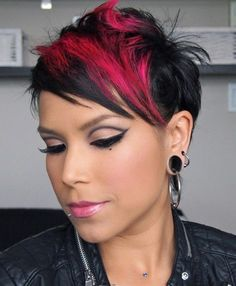 Cute Short Hair With Red Block Color | Full Dose