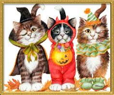 The Halloween cats were jealous, they wanted to be seen too! These cats were from a T-shirt Designs I did a few years ago. Kit or Treat Kitty Halloween Chat Halloween, Feliz Halloween, Halloween Clipart, Halloween Pictures, Halloween Night, Halloween Cards, Holidays Halloween, Spooky Halloween, Halloween Ideas