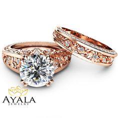 Rose Gold Moissanite Engagement Ring Set Unique 2 by AyalaDiamonds