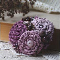"""Купить Брошь """"Лиловая дымка"""" - лиловая брошь, Лиловый цвет, брошь с цветами, брошь букет"""