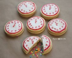 New Year's Eve Confetti Clock Cookies