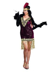 Sophisticated Lady plus size flapper costume features a gorgeous burgundy velvet dress with intricate embroidered gold neckline and lavish sequin fringe. Comes with ostrich feather headband. Plus Size Flapper Costume, 1920s Costume, Plus Size Costume, Costume Dress, Gypsy Costume, Cleopatra Costume, Sexy Costumes For Women, Girl Costumes, Adult Costumes