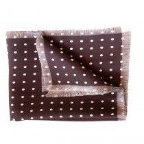 Elizabetta Men's Italian Dots Silk Square - Brown