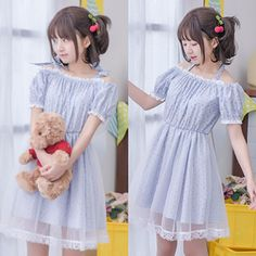 Japanese sweet floral net yarn dew shoulder dress · Asian Cute  Kawaii  Clothing  · Online Store Powered by Storenvy 794ef3ff21f