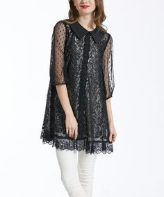Another great find on #zulily! Black Lace Sheer-Sleeve Tunic #zulilyfinds