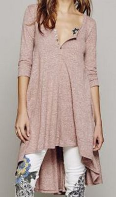 Comfy Casual  Scoop Collar 3/4 Sleeve Solid Color Asymmetrical Hi Lo Hem Women's Dress