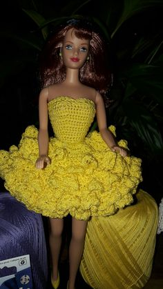 Crochet for Barbie Midge Doll.  Party dress pattern can be found at www.leisurearts.com