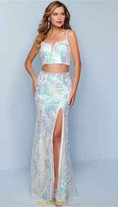 Splash Prom Dresses   Peaches Boutique Two Piece Long Dress, Prom Dresses Two Piece, Beaded Prom Dress, Sequin Dress, Dress Prom, Jovani Dresses, Gowns, High Fashion Trends, Perfect Prom Dress