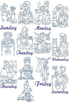 Days of The Week From Yesteryear | Machine Embroidery Designs By Sew Swell