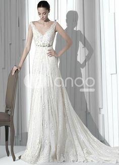 Elegant White Lace A-line V-neck Wedding Dress