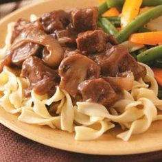 Beef with Red Wine Gravy Recipe -Slow-cooker convenience means you can prep this entree in the morning and come home to a hot meal all ready to serve! Maybrie - Tasteofhome.com Community