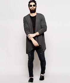 Khaki longline waterfall hooded cardigan - hoodies - hoodies ...