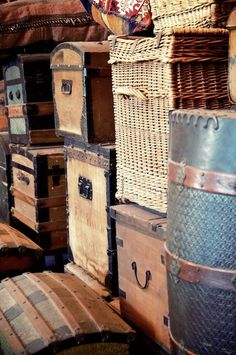 Steamer trunks and luggage. Useful for storing blankets, important papers, keepsakes, and hope chest, for a future bride.