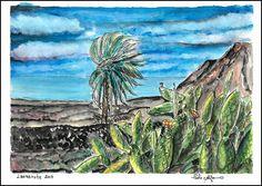 Watercolor painting painting Viento palama wind