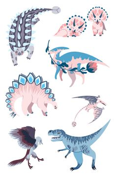 """rachelsuggs: """"Some dino stickers I made to sell at CALA and MICA's Art Market! """""""