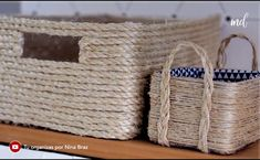 DIY BASKET Learn how to make a basket out of rope and sisal! Diy Crafts For Home Decor, Diy Crafts Hacks, Diy Arts And Crafts, Creative Crafts, Jute Crafts, Recycled Crafts, Diy Straw, Cardboard Crafts, Diy Box
