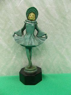 Original 1920's Chiparus FRANKART Art Deco Statue Ice Skating Girl Follies   eBay