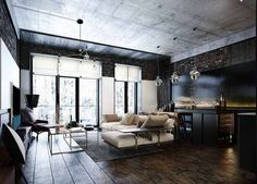 12 Amazing Industrial Apartment Design Ideas To Make Your Inspiration - Home And Apartment Ideas Loft Interior, Apartment Interior, Interior Architecture, Interior Design, Apartment Ideas, Men Apartment, Modern Apartment Decor, Industrial Apartment, Modern Industrial Decor
