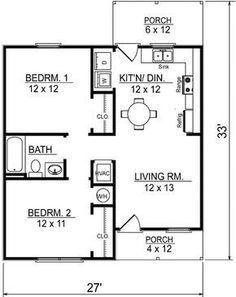 2 Bedroom Floor Plans, Cottage Floor Plans, Apartment Floor Plans, Country House Plans, Closet Ideas For Small Spaces Bedroom, Small Closet Space, Room Ideas Bedroom, Bedroom Bed, Small House Floor Plans