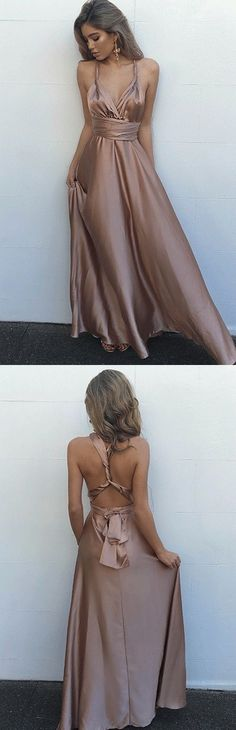 Simple v neck party dresses,silky satin dresses,backless prom party dresses, evening dresses,silky satin evening dresses