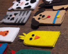Items similar to On the Farm Finger Puppets on Etsy Felt Puppets, Puppets For Kids, Felt Finger Puppets, Diy Quiet Books, Baby Quiet Book, Sewing Projects For Kids, Crafts For Kids, Finger Puppet Patterns, Felt Crafts Patterns