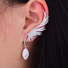 missvikki Handmade Fashion Silver Brand Feather Shape Earrings Popular Earrings Temperament High Clear Cubic Zirconia Outfit Accessories From Touchy Style. Girls Jewelry, Women Jewelry, Fashion Jewelry, Big Jewelry, Simple Jewelry, Pearl Jewelry, Jewelry Art, Jewelry Ideas, Jewelry Gifts