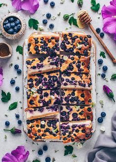 Blueberry Cheesecake Bars (Vegan + Easy) - Bianca Zapatka | Recipes