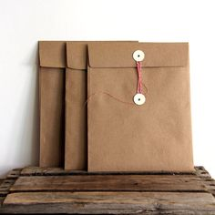 Kraft Envelops with Button Ties.