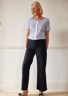 The Able Label - Tabatha Tee (Seaspray Stripe). Front opening with no fiddly fastenings.