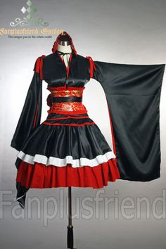 Made by satin and cotton, 5 pieces. satin yukada blouse. red cotton and black satin skirt red sash with large bows. detachable shoulder belts. knee length.