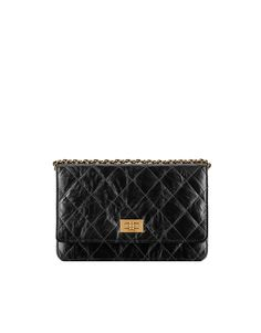 WALLET ON CHAIN, aged calfskin & gold metal-black - CHANEL