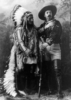 Four years after the tribal leader surrendered to the United States, Sitting Bull posed with Buffalo Bill for this iconic 1885 photo. For a time, Sitting Bull even toured with Bill's Wild West Show.