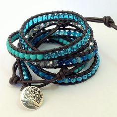Turquoise and Blue Stripe Agate Beaded Leather 5-Wrap Bracelet