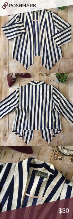 Maude Navy & Cream Striped Blazer In excellent preowned condition. Maude Jackets & Coats Blazers