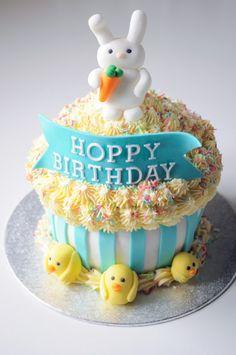 Hoppy Birthday giant cupcake! Easter birthday!