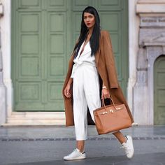 cropped pants white and camel