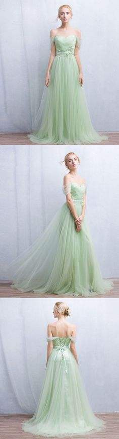 Custom Elegant Green Tulle Prom Dress,Off the Shoulder Evening Dress,Back Lace Up Prom Dress,Sweetheart dress,