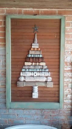 """I asked for something fun! """"Dude"""" made it happen! Old spindles old breadboard & and old window frame = Christmas Art! also use old book bindings. Diy Christmas Lights, Rustic Christmas, Christmas Art, Christmas Projects, All Things Christmas, Vintage Christmas, Christmas Holidays, Christmas Decorations, Tree Crafts"""