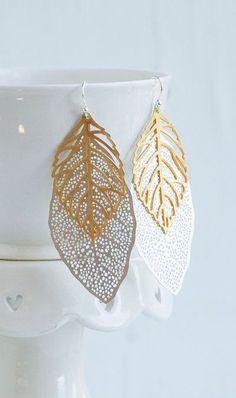 Big Leaf Earrings SILVER & GOLD Long Earrings