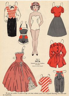Love the stylish wardrobe this cute little Nita paper dolls from the 1950s has to pick and choose from.