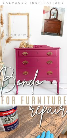 BONDO For Furniture Repairs | Easy Vintage Dresser Makeover | Salvaged Inspirations #siblog #salvagedinspirations #paintedfurniture #furniturepainting #DIYfurniture #furniturepaintingtutorials #howto #furnitureartist #furnitureflip #salvagedfurniture #furnituremakeover #beforeandafterfurnuture #paintedvintagefurniture #roadsiderescues Diy Furniture Tutorials, Diy Furniture Redo, Furniture Repair, Salvaged Furniture, Vintage Furniture, Painted Furniture, Vintage Dressers, Furniture Arrangement, Baby Room