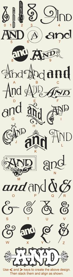"by Noel Weber & Dave Parr  Features 24 variations of the word ""And"", with 12 different ampersands. $49.00"