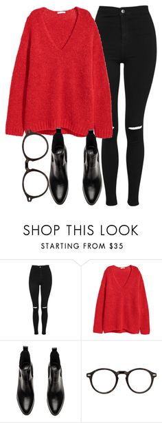 """Untitled #7062"" by laurenmboot ❤ liked on Polyvore featuring Topshop and Moscot"