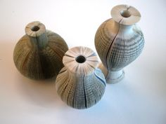 Vases Made From Recycled Books: Novel Eco-Friendly Interior Design by Laura Cahill Recycled Decor, Recycled Books, Repurposed, Paper Book, Paper Art, Book Projects, Craft Projects, Books Decor, Book Binding Methods